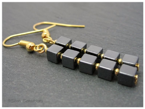 Hematite Cubes & Gold Plated Beaded Dangly Fashion Earrings
